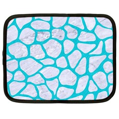 Skin1 White Marble & Turquoise Colored Pencil Netbook Case (large) by trendistuff