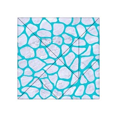 Skin1 White Marble & Turquoise Colored Pencil Acrylic Tangram Puzzle (4  X 4 ) by trendistuff