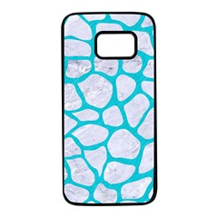 Skin1 White Marble & Turquoise Colored Pencil Samsung Galaxy S7 Black Seamless Case