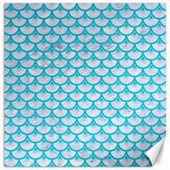 Scales3 White Marble & Turquoise Colored Pencil (r) Canvas 16  X 16   by trendistuff