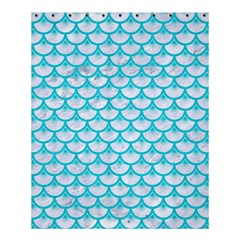 Scales3 White Marble & Turquoise Colored Pencil (r) Shower Curtain 60  X 72  (medium)  by trendistuff