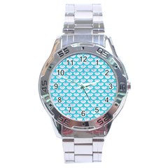 Scales3 White Marble & Turquoise Colored Pencil (r) Stainless Steel Analogue Watch by trendistuff