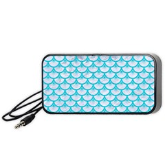 Scales3 White Marble & Turquoise Colored Pencil (r) Portable Speaker by trendistuff