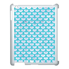 Scales3 White Marble & Turquoise Colored Pencil (r) Apple Ipad 3/4 Case (white) by trendistuff