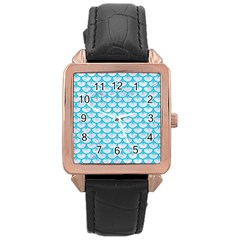 Scales3 White Marble & Turquoise Colored Pencil (r) Rose Gold Leather Watch  by trendistuff