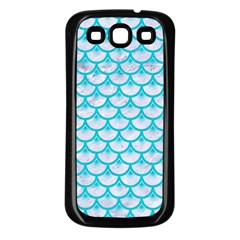 Scales3 White Marble & Turquoise Colored Pencil (r) Samsung Galaxy S3 Back Case (black) by trendistuff