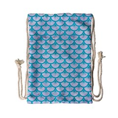Scales3 White Marble & Turquoise Colored Pencil (r) Drawstring Bag (small) by trendistuff