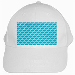 Scales3 White Marble & Turquoise Colored Pencil White Cap by trendistuff