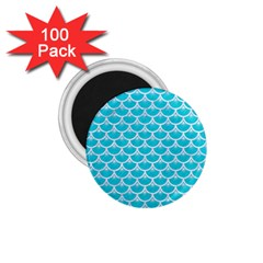 Scales3 White Marble & Turquoise Colored Pencil 1 75  Magnets (100 Pack)  by trendistuff