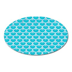 Scales3 White Marble & Turquoise Colored Pencil Oval Magnet by trendistuff