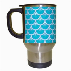 Scales3 White Marble & Turquoise Colored Pencil Travel Mugs (white) by trendistuff