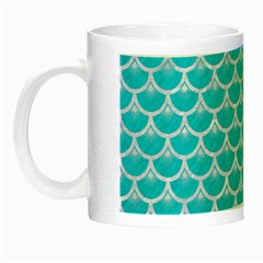 Scales3 White Marble & Turquoise Colored Pencil Night Luminous Mugs by trendistuff
