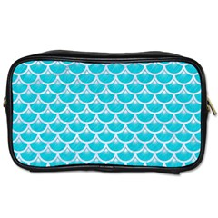 Scales3 White Marble & Turquoise Colored Pencil Toiletries Bags by trendistuff