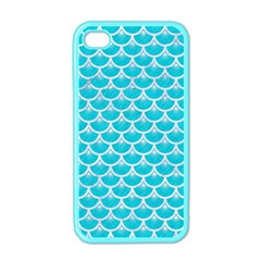 Scales3 White Marble & Turquoise Colored Pencil Apple Iphone 4 Case (color) by trendistuff
