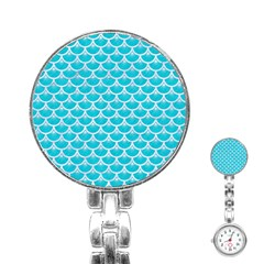 Scales3 White Marble & Turquoise Colored Pencil Stainless Steel Nurses Watch by trendistuff