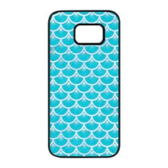 Scales3 White Marble & Turquoise Colored Pencil Samsung Galaxy S7 Edge Black Seamless Case