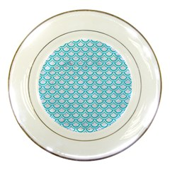 Scales2 White Marble & Turquoise Colored Pencil (r) Porcelain Plates by trendistuff