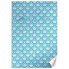 Scales2 White Marble & Turquoise Colored Pencil (r) Canvas 12  X 18   by trendistuff