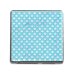 Scales2 White Marble & Turquoise Colored Pencil (r) Memory Card Reader (square) by trendistuff