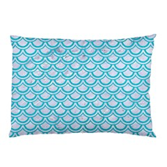 Scales2 White Marble & Turquoise Colored Pencil (r) Pillow Case (two Sides)