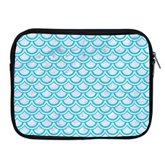 Scales2 White Marble & Turquoise Colored Pencil (r) Apple Ipad 2/3/4 Zipper Cases by trendistuff