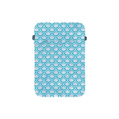 Scales2 White Marble & Turquoise Colored Pencil (r) Apple Ipad Mini Protective Soft Cases by trendistuff
