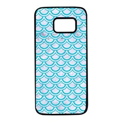 Scales2 White Marble & Turquoise Colored Pencil (r) Samsung Galaxy S7 Black Seamless Case by trendistuff