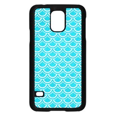 Scales2 White Marble & Turquoise Colored Pencil Samsung Galaxy S5 Case (black) by trendistuff
