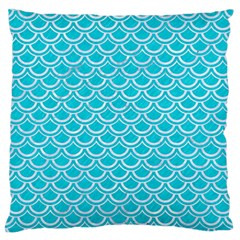 Scales2 White Marble & Turquoise Colored Pencil Standard Flano Cushion Case (two Sides) by trendistuff