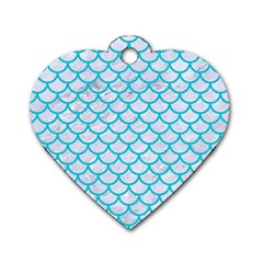 Scales1 White Marble & Turquoise Colored Pencil (r) Dog Tag Heart (one Side) by trendistuff