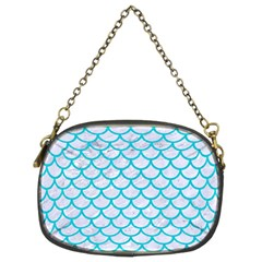 Scales1 White Marble & Turquoise Colored Pencil (r) Chain Purses (two Sides)  by trendistuff