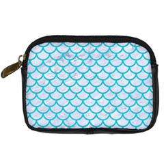Scales1 White Marble & Turquoise Colored Pencil (r) Digital Camera Cases by trendistuff