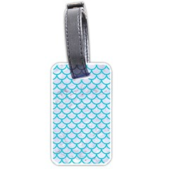 Scales1 White Marble & Turquoise Colored Pencil (r) Luggage Tags (two Sides) by trendistuff