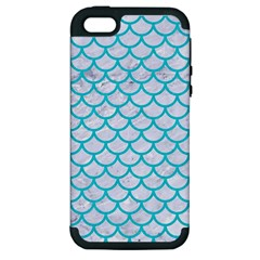 Scales1 White Marble & Turquoise Colored Pencil (r) Apple Iphone 5 Hardshell Case (pc+silicone) by trendistuff