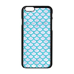 Scales1 White Marble & Turquoise Colored Pencil (r) Apple Iphone 6/6s Black Enamel Case by trendistuff