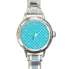 Scales1 White Marble & Turquoise Colored Pencil Round Italian Charm Watch by trendistuff