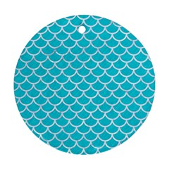 Scales1 White Marble & Turquoise Colored Pencil Round Ornament (two Sides) by trendistuff