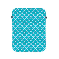 Scales1 White Marble & Turquoise Colored Pencil Apple Ipad 2/3/4 Protective Soft Cases by trendistuff