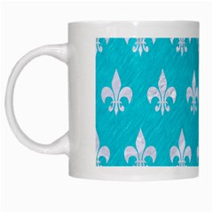 Royal1 White Marble & Turquoise Colored Pencil (r) White Mugs by trendistuff