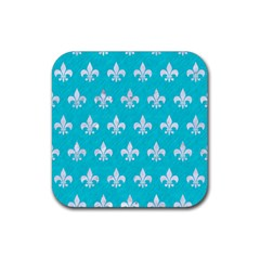 Royal1 White Marble & Turquoise Colored Pencil (r) Rubber Coaster (square)  by trendistuff