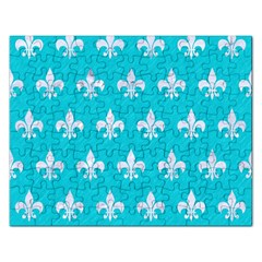 Royal1 White Marble & Turquoise Colored Pencil (r) Rectangular Jigsaw Puzzl by trendistuff