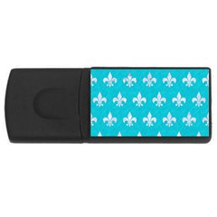 Royal1 White Marble & Turquoise Colored Pencil (r) Rectangular Usb Flash Drive by trendistuff