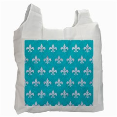 Royal1 White Marble & Turquoise Colored Pencil (r) Recycle Bag (two Side)  by trendistuff