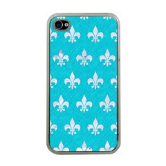Royal1 White Marble & Turquoise Colored Pencil (r) Apple Iphone 4 Case (clear) by trendistuff