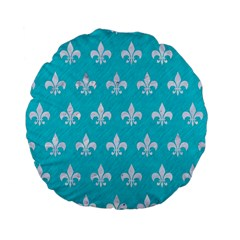 Royal1 White Marble & Turquoise Colored Pencil (r) Standard 15  Premium Flano Round Cushions by trendistuff