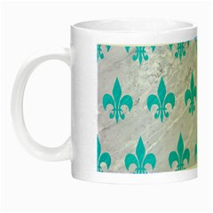Royal1 White Marble & Turquoise Colored Pencil Night Luminous Mugs by trendistuff