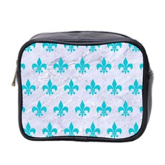 Royal1 White Marble & Turquoise Colored Pencil Mini Toiletries Bag 2 Side by trendistuff