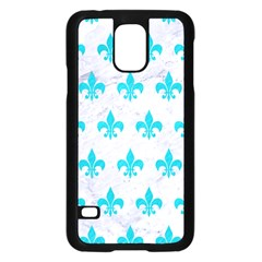 Royal1 White Marble & Turquoise Colored Pencil Samsung Galaxy S5 Case (black) by trendistuff