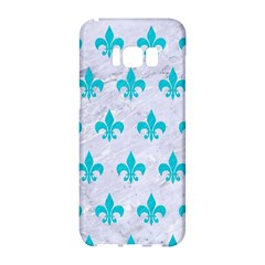 Royal1 White Marble & Turquoise Colored Pencil Samsung Galaxy S8 Hardshell Case
