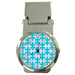 Puzzle1 White Marble & Turquoise Colored Pencil Money Clip Watches by trendistuff